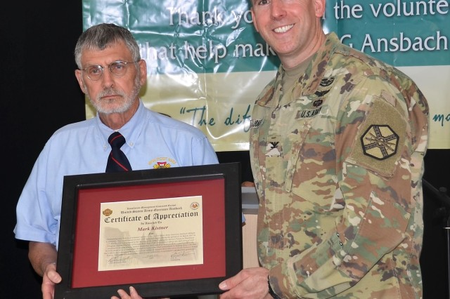 Mark Kistner contributed 1,000 hours to various organizations, including Service Financial Readiness Program and the Veterans of Foreign Wars Post 9342. He was awarded the Commander's Certificate of Appreciation at the USAG Ansbach Volunteer Recognition April 24, 2018 (U.S. Army photo by Bianca Sowders, USAG Ansbach Public Affairs Office)