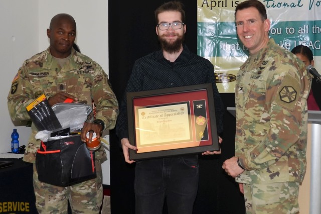 Brian Sowders worked more than 1,400 hours for the entertainment department, which included assistance in concert and show productions, as well as all theater productions at the Terrace Playhouse Theater, behind the scenes and on stage. He was awarded the Commander's Certificate of Appreciation at the USAG Ansbach Volunteer Recognition April 24, 2018 (U.S. Army photo by Bianca Sowders, USAG Ansbach Public Affairs Office)