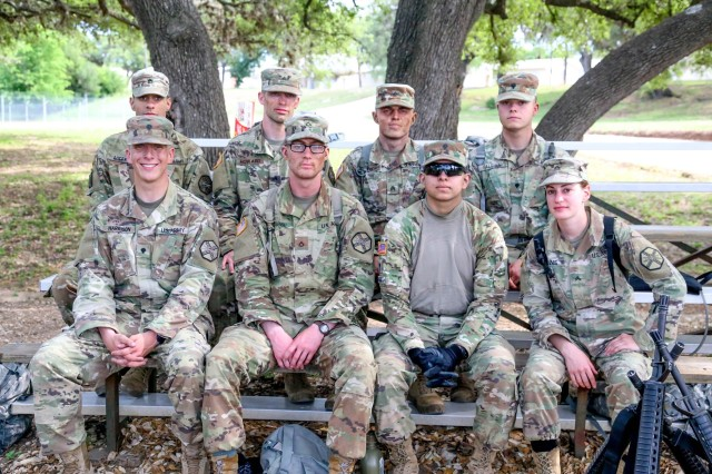 Representing four IMCOM directorates at the Best Warrior Competition were (front row, from left) Spc. Jacob D. Harrison (Readiness), Pfc. Thomas U. Massengill (Pacific), Spc. Jacqueline A. Delgado (Europe), Cpl. Rebecca N. Dennis (Pacific) and (back row, from left) Sgt. Jeremy J. Lucena (Europe), Sgt. Justin C. Howard (Training), Sgt. Anthony J. Brown-Davis (Readiness) and Spc. Bryce M. Falgiani (Training).