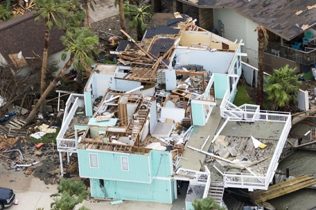 Hurricane Harvey damage at Rockport, Texas.