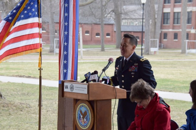BG Mark Toy, US Army Corps of Engineers, Great Lakes and Ohio River Division Commander addresses the crowd gathered to celebrate the groundbreaking of the Canandaigua VA Medical Center Phase I project, April 10, 2018Phase I work includes demolition of Building #2, construction of a Chiller/Emergency Generator Plant and Outpatient Clinic, and renovates Building #1.The partnership between the Department of Veterans Affairs, VA Canandaigua Medical Center, and the U.S. Army Corps of Engineers Buffalo and Louisville districts, along with leaders from local, state, and federal government have helped get this project to where we are today.