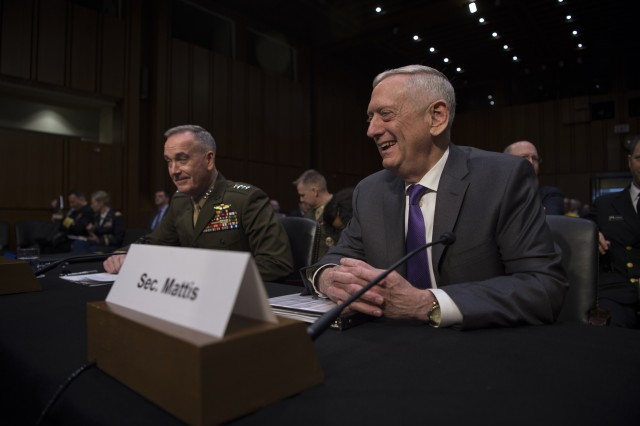 Secretary of Defense James N. Mattis and Chairman of the Joint Chiefs of Staff Gen. Joseph F. Dunford Jr. testify on the DOD posture and fiscal year 2019 budget to the Senate Armed Services Committee, Washington, D.C., April 26, 2018.
