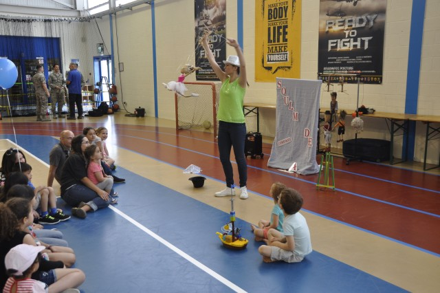 """Iliyana Gadeleva, from the Soulmade Theatre Company, in Bulgaria, presents """"Freedom of the Smiles,"""" a show with puppets,  April 21, 2018, at the Community Activity Center on Chièvres Air Base, Belgium."""