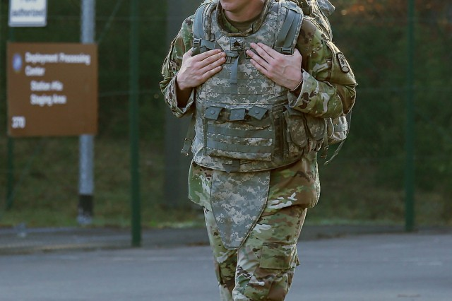 Staff Sgt. William Thompson of the 457th Civil Affairs Battalion, walks during the ruck march of the 7th Mission Support Command's Best Warrior Competition April 16, 2018 on Rhine Ordnance Barracks in Kaiserslautern, Germany.
