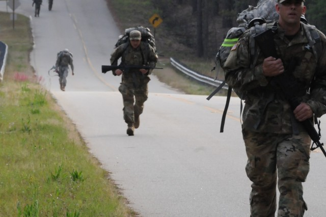 Nine Soldiers from Army Reserve Medical Command complete the 6.2 mile ruck march event on April 13.  The Soldiers arrived on April 11th, prepared to compete in the command-level Best Warrior Competition for 2018 held April 11-15 at the home of the U.S. Cyber Center of Excellence - Fort Gordon, Georgia. The Best Warrior Competition recognizes Soldiers who demonstrate commitment to the Army values, embody the Warrior Ethos and represent the force of the future.