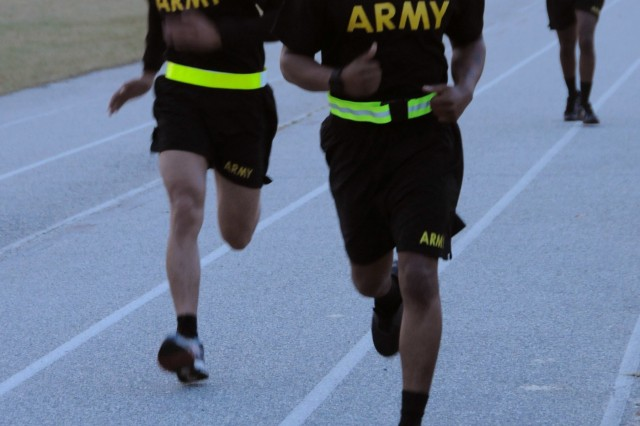 Nine Soldiers from Army Reserve Medical Command finish the run portion of the Army Physical Fitness Test.  The Soldiers arrived on April 11th, prepared to compete in the command-level Best Warrior Competition for 2018 held April 11-15 at the home of the U.S. Cyber Center of Excellence - Fort Gordon, Georgia. The Best Warrior Competition recognizes Soldiers who demonstrate commitment to the Army values, embody the Warrior Ethos and represent the force of the future.