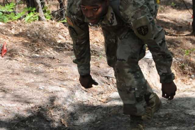 Sgt. Chavarius Batton, assigned to 7233rd Medical Support Unit in Montgomery, Alabama, competes on an obstacle course on April 12th. Batton is one of nine Soldiers from Army Reserve Medical Command who arrived on April 11th, prepared to compete in the command-level Best Warrior Competition for 2018 held April 11-15, at the home of the U.S. Cyber Center of Excellence - Fort Gordon, Georgia. The Best Warrior Competition recognizes Soldiers who demonstrate commitment to the Army values, embody the Warrior Ethos and represent the force of the future.