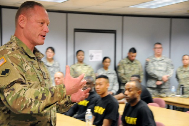 Army Reserve Medical Command's command sergeant major, Command Sgt. Maj. Wayne Brewster, welcomes the nine Soldiers competing at the ARMEDCOM level 2018 Best Warrior Competition held April 11-15 a the home of the U.S. Cyber Center of Excellence - Fort Gordon, Georgia.  The Best Warrior Competition recognizes Soldiers who demonstrate commitment to the Army values, embody the Warrior Ethos and represent the force of the future.
