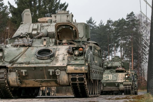 M2 Bradley fighting vehicles are lined up in Grafenwoehr, Germany on April 11, 2018, in preparation for a field exercise during Combined Resolve X. The Joint Warfighting Assessment 18.1 will combine its exercise with the U.S. Air Force Europe's Blue Flag exercise as well as U.S. Army Europe's Combined Resolve X, from April 20 through May 9 2018, at Grafenwoehr and Hohenfels, Germany. The U.S. Army will be conducting informed experimentation on new coalition data sharing network systems during JWA 18.1 to help improve coalition network communications interoperability.