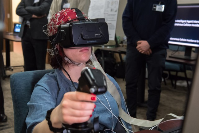 Army researchers test a driver's reaction to distractions in a virtual reality computer simulation. The experiment provides data to scientists who may be able to offer solutions to mitigate the distractions and help Soldiers to complete their missions.