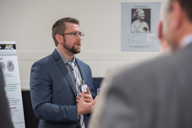 Scientists and leadership from the U.S. Army Research Laboratory review the the Cognition and Neuroergonomics Collaborative Technology Alliance April 12, 2018, at Aberdeen Proving Ground, Maryland.