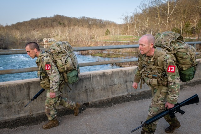 Sgt. 1st Class Robert Clark and Capt. Rudy Chelednik, 21st Brigade Engineer Battalion, 3rd Brigade Combat Team, 101st Airborne Division, Fort Campbell, Kentucky, cross the Roubidoux Creek during the 2018 Best Sapper Competition. Teams walked more than 50 miles in less than three days to complete the competition.