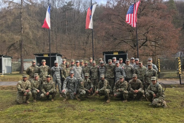 Texas Army National Guard engineers from the 836h Engineer Company, 136th Maneuver Enhancement Brigade, work alongside Soldiers from the Indiana National Guard, the Czech Republic and Slovakia in support of Operation Toxic Lance, a search and rescue exercise involving a chemical warfare scenario, March 12th -- 23rd, 2018, at Training Area Lest in central Slovakia. The Soldiers were brought together as part of the National Guard Bureau's State Partnership Program that focuses on building interoperability and strengthening international relationships through military-to-military exchanges.
