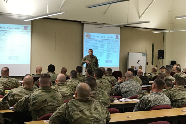 Lt. Col. Anthony Bianchi, 3-314th Field Artillery Battalion commander, briefs the attendees at the Northeast Regional Field Artillery Symposium on Joint Base McGuire-Dix-Lakehurst, New Jersey April 24, 2018. (U.S. Army photo by Sgt. 1st Class Corey Vandiver)
