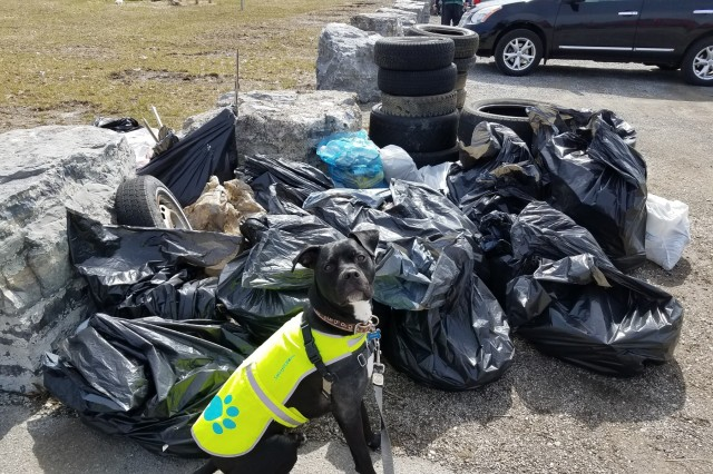 A pile of trash collected from Seneca Bluffs Park as part of a cleanup effort organized by Buffalo Niagara Waterkeepers on Earth Day, Apr. 21, 2018. The park is the site of a U.S. Army Corps of Engineers, Buffalo District habitat restoration project. (Photo by Katie Lewis, USACE Buffalo District)