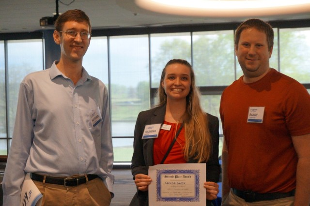 ARL student intern Sabrina Curtis stands with U.S. Army Research Laboratory mentors, Drs. Nathan Lazarus and Randy Tompkins, at the 2017 Mid Atlantic Micro Nano Alliance Spring Symposium where she won a second place poster award for her ARL research.