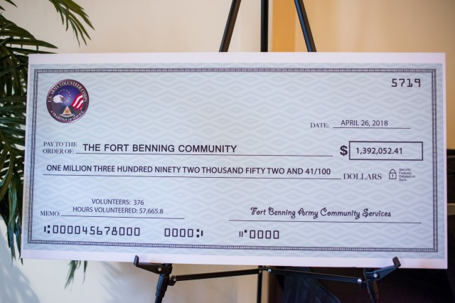 FORT BENNING, Ga. (May 1, 2018) - A giant novelty check for the amount of $1,392,052.41 represents the savings volunteers have provided the Maneuver Center of Excellence and Fort Benning in 2017. More than 70 Soldiers, retirees, Family members and civilians were recognized at the 2018 Volunteer Awards Ceremony at the Benning Club at Fort Benning, Georgia, April 26. Volunteer of Excellence Awards were presented to individuals who volunteered at least 500 hours and to organizations that have provided distinguished volunteer service in 2017. (U.S. Army photo by Patrick Albright, Maneuver Center of Excellence, Fort Benning Public Affairs / RELEASED)