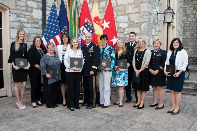 Members of the Carlisle Area School District pose for a photo at the Excellence in Education reception hosted by Maj. Gen. and Mrs John Kem, USAWC Commandant, April 30.