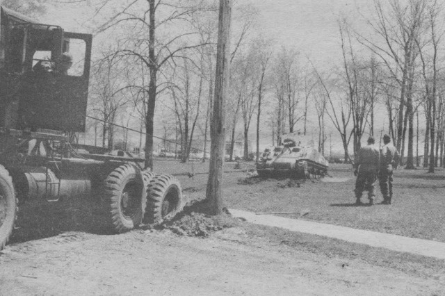 The second attempt on May 2 was more successful but not without some serious problems.  The M4A4 was finally winched out by using a nearby tree to anchor the tractor in place.