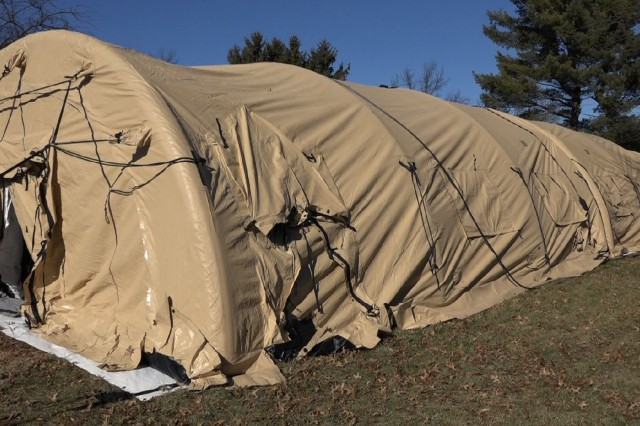 A fully inflated TEMPER Air Supported Shelter.
