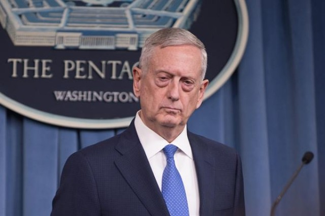 Secretary of Defense Jim Mattis speaks with reporters at the Pentagon on Monday, April 30, 2018.