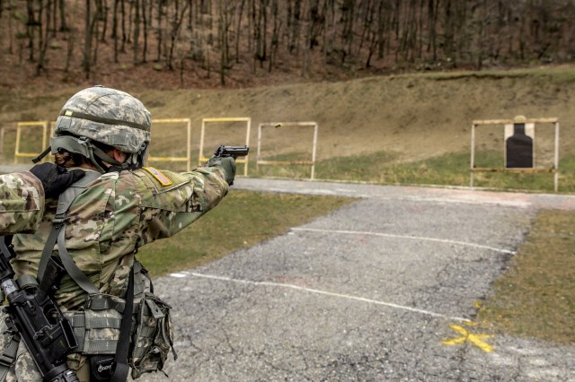 U.S. Army Spc. Nicole Raterman, a combat engineer assigned to Headquarters Company, 204th Engineer Battalion, New York Army National Guard (NYARNG), fires her M9 pistol during the stress shoot event of the NYARNG Best Warrior Competition at Camp Smith Training Site, N.Y., April 19, 2018. The Best Warrior Competition, held April 18-22, 2018, is an annual event in which junior enlisted Soldiers and non-commissioned officers from various New York Army National Guard units compete in several events intended to test their military skills and knowledge, as well as their physical fitness and endurance.
