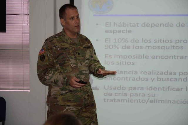 U.S. Army Lt. Col. Jeffrey Clark from the U.S. Army Medical Command's Army Public Health Center, gives a class on mosquito surveillance techniques during a vector control practices seminar in Santiago, Chile Apr. 17.