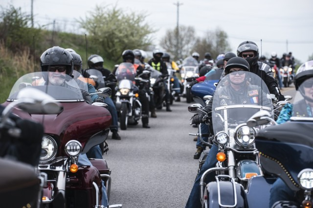 Approximately 80 motorcyclists lined up outside Silverleaf Sexual Trauma Recovery Services in Elizabethtown upon their arrival at the agency April 26, during the 4th Annual Raise the Bars Motorcycle Ride. Organized by U.S. Army Human Resources Command, the event is held in observance of Sexual Assault Awareness and Prevention Month.