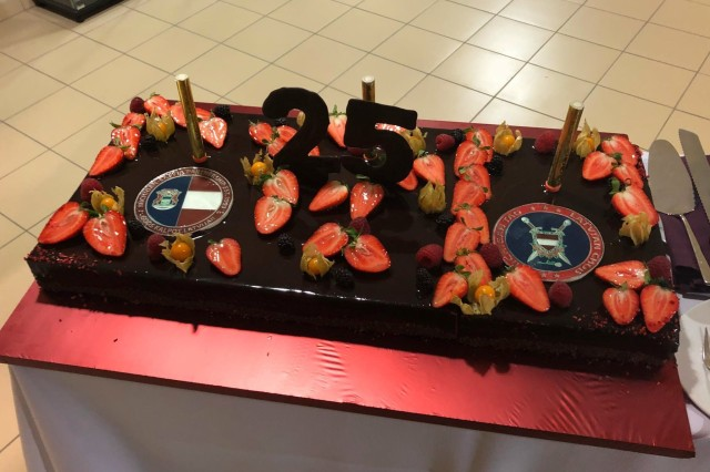 Cake and champagne was enjoyed to mark the 25th Anniversary of the Latvia-Michigan partnership during a special ceremony, April 27, 2018 in Riga, Latvia.