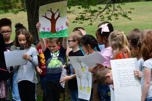 Students from Lela Richee's 2nd grade class explain the importance of trees to the environment and particularly to humans.