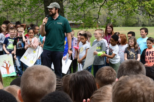 Bernheim Arboretum and Research Forest arborist and guest speaker Dan Pascucci speaks to the students about how trees breathe in our carbon dioxide and release oxygen to us.