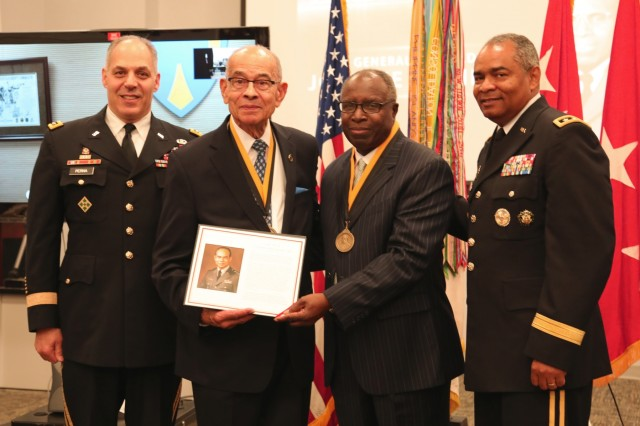 From left: Gen. Gustave F. Perna, commanding general, U.S. Army Materiel Command; Lt. Gen. (ret.) Arthur J. Gregg; Gen. (ret.) Johnnie E. Wilson; and Lt. Gen. Aundre F. Piggee, Department of Army G-4 after the presentation of the Gregg Award for Leadership May 3 at the Army Logistics University on Fort Lee, Virginia. The presentation was conducted during the U.S. Army Combined Arms Support Command Sustainment Week, held May 1-3.(U.S. Army photo by Dani Johnson)