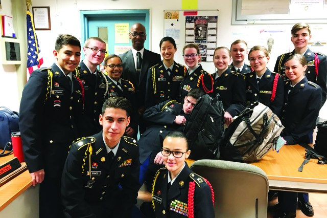 Pictured from left to right: Cadets Calvin Hormann, Lacy Britt, and Lauren Miller; Formal Inspector Harvey White; cadets Yoonjin Lee, Madelaine Hamby, Gillian Snodgrass, Rhett Langley, Jessica Sweatman, Tiersa Trump, Gavin Gagliano, Alejandro Ramos, Anthony Verduga, and Aniesy Rivera.