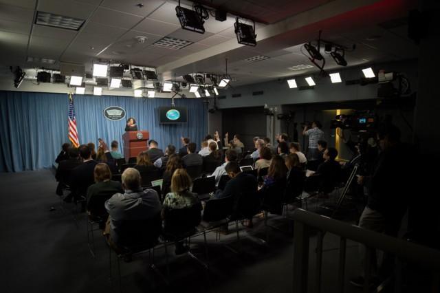 Chief Pentagon spokesperson Dana W. White briefs reporters at the Pentagon, May 3, 2018.