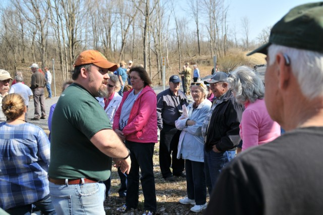 Jason Wagner, Fort Drum Natural Resources chief, and members of his staff serve as tour guides during the Industrial History Tour on May 2. They spoke about how the preservation of natural resources in the training areas and the Fish and Wildlife Management Program that allows community members a chance to recreate on post.