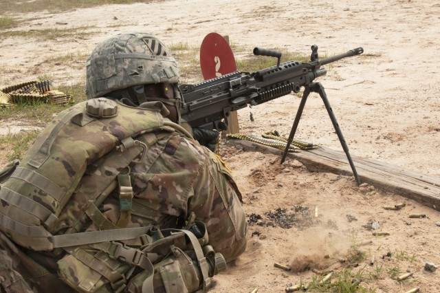 Sgt. Alawa Kpamborga, a combat engineer assigned to Task Force 1st Battalion, 28th Infantry Regiment, 3rd Infantry Division fires an M240B general-purpose machine gun during a qualification event for the 3rd ID's Best Warrior Competition, May 3, 2018, at Fort Stewart, Ga. The three-day competition consisted of events that measured each competitor's physical and mental toughness, as well as their technical and tactical proficiency. The winners of the competition will represent the division at the XVIII Airborne Corps Best Warrior Competition in June. (U.S. Army photo by Sgt. Arjenis Nunez/Released)