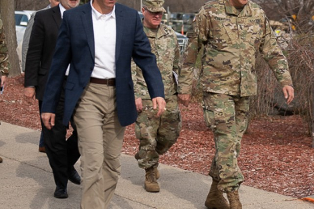 Secretary of the Army Dr. Mark T. Esper was greeted by TACOM Commanding General Maj. Gen. Clark LeMasters when he arrived to visit the Detroit Arsenal on April 27, joined by U.S. Sen. Gary Peters (D-Mich.).