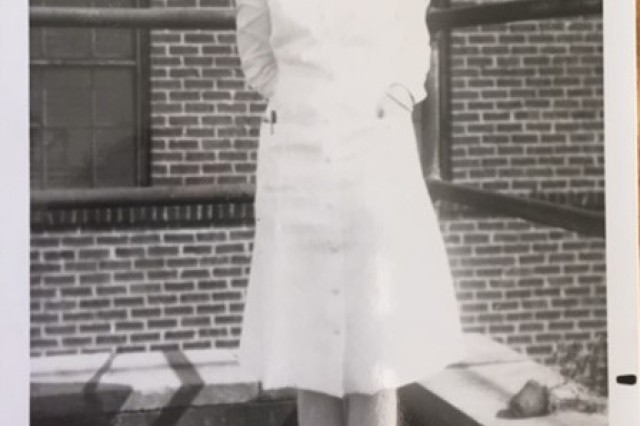 """Bettie Burdette wanted to serve as an Army Nurse during World War II.  As a wife and mother with six small children, that wasn't an option.  However, she trained in the Nurse Cadet Corps on Staten Island during the war and took care of wounded soldiers when they came home.  Col. Jennifer L. Coyner, current Chief, Department of Anesthesia and Operative Services at Carl R. Darnall Army Medical Center remembers her nursing stories—told with a gleam in her eye and great pride.  """"She seemed to me,"""" Coyner said, """"the epitome of nurse."""""""