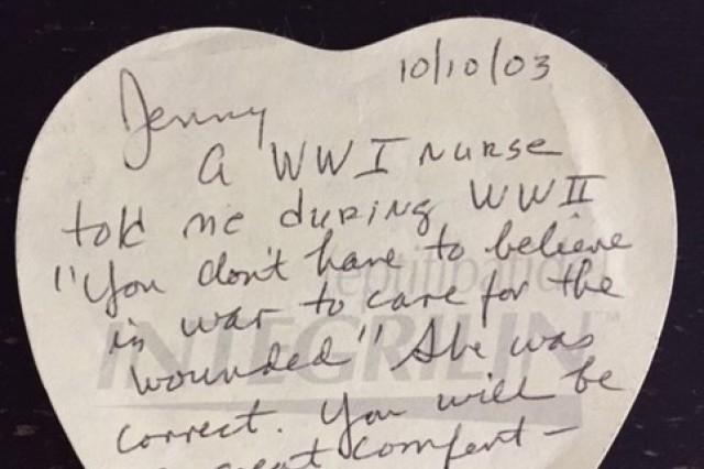 Bettie Burdette's note to Jennifer Coyner on her first deployment to Iraq.