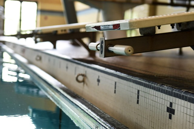 Too low for high school meets, the swimming blocks at Gammon Physical Fitness Center will be raised to standard as part of the renovation. Five high schools train at the pool during swim competition season.