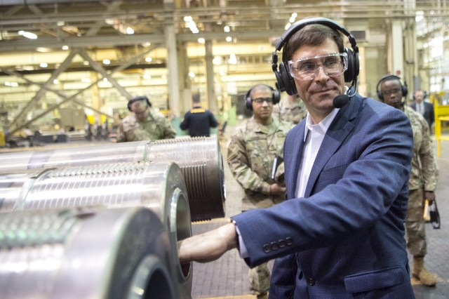 Secretary of the U.S. Army Mark Esper and General Gustave Perna tour Watervliet Arsenal, New York, March 30, 2018. Secretary Esper also recently visited the Detroit Arsenal in Michigan on April 27 to discuss how the new Cross-Functional Teams will reduce the acquisition process timeline.