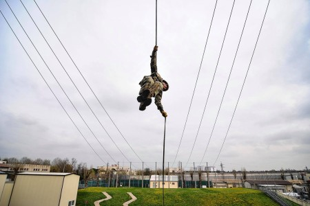 Sappers refine their rappelling skills in preparation for the Best Sapper Competition at Fort Leonard Wood, Mo., March 3, 2018. This skill is especially helpful for those Soldiers who plan to attend Air Assault School, Ranger School, the Sapper Leader Course and most Special Operations Selection Courses.