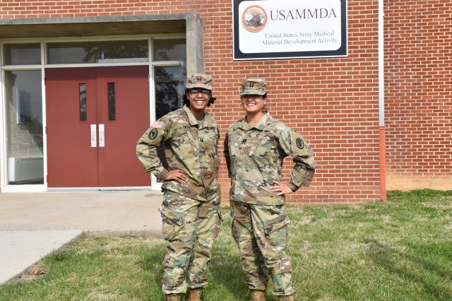 USAMMDA interns Army Capt. Amber Smith (left) and Army Capt. Amanda Roth are accomplishing a great deal in the Program Management Acquisitions Internship Program at the U.S. Army Medical Materiel Development Activity, Fort Detrick, Maryland.