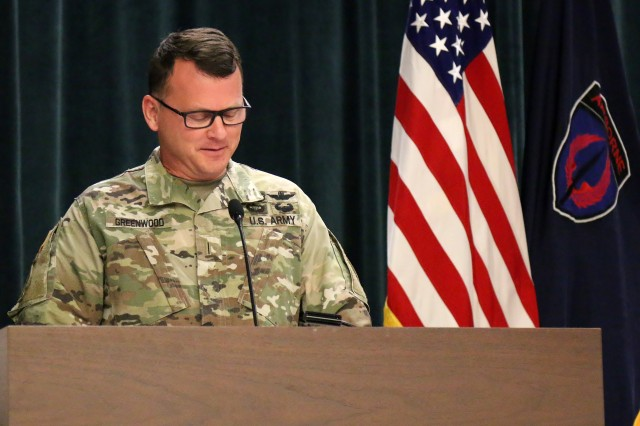 Chief Warrant Officer 5 David Greenwood remarks after accepting duties as USASOAC's Command Chief Warrant Officer during a Change of Responsibility ceremony at Fort Bragg, North Carolina, May 2. (Photo by Master Sgt. Shannon Blackwell, USASOAC Public Affairs)