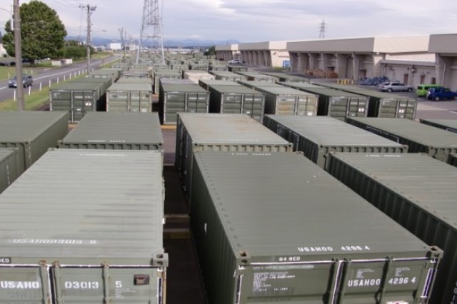 A high level view of containers holding Army Prepositioned Stocks in Japan.