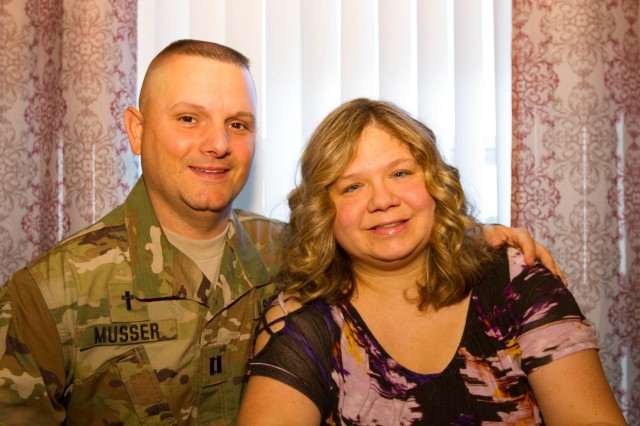 Capt. Mark Musser, the chaplain with 303rd Military Intelligence Battalion, 504th Military Intelligence Brigade, Fort Hood, Texas, and his wife Kim Musser pose for a photo May 7, 2018. They have been married for 25 years. (U.s. Army photo by Sgt. Melissa N. Lessard)