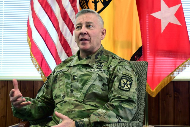 During his exit interview with journalists at his office April 13, 2018, Maj. Gen. Chris Hughes, commander of U.S. Army Cadet Command and Fort Knox, candidly answers several questions about his time at Fort Knox. (Photo by Eric Pilgrim | The Gold Standard)