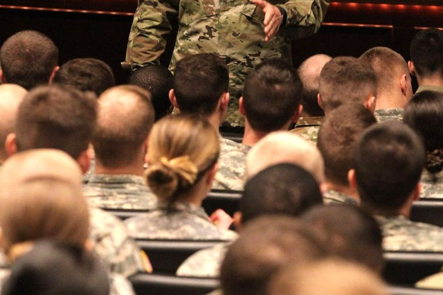 Maj. Gen. Chris Hughes, commander of U.S. Army Cadet Command and Fort Knox, speaks to cadets during the George C. Marshall Award and Leadership Seminar Feb. 12, 2018, at Fort Leavenworth, Kansas. (Photo by Michael Maddox | Cadet Command Public Affairs)