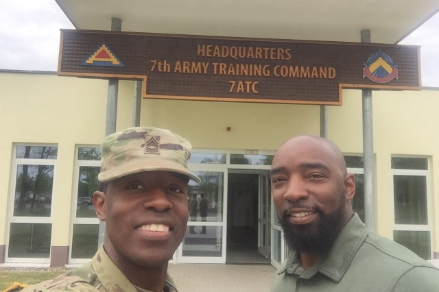 U.S. Army Master Sgt. Kyran Adams takes a selfie with his older brother and Army combat veteran, Josh, at 7th Army Training Command in Grafenwoehr, Germany, May 2, 2018. The Adams brothers last saw each other five years ago when they laid their father to rest. The combat veterans were reunited during the U.S. Army Joint Warfighting Assessment (JWA) 18, an exercise developed to assess emerging concepts, integrate new technologies, and promote interoperability within the Army, other services, and U.S. allies and partners.