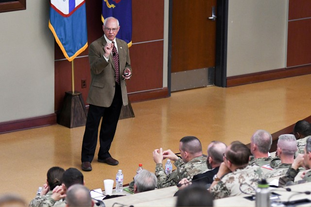 "Don M. Snider, PhD. Professor of Political Sciences, Emeritus, West Point, and Adjunct Research Professor, Strategic Studies Institute at the U.S. Army War College, speaks at the U.S. Army Sexual Harassment/Assault Response and Prevention (SHARP) Academy Professional Forum in Marshall Auditorium on Tuesday, May 8, at the Lewis & Clark Center on Fort Leavenworth. The event was entitled ""Can the Army be an effective military profession if sexual assault and sexual harassment are undiminished?"" ""A bureaucratic, compliance-based Army, led by transactional leaders will never successfully address sexual assault and harassment,"" Snider said."